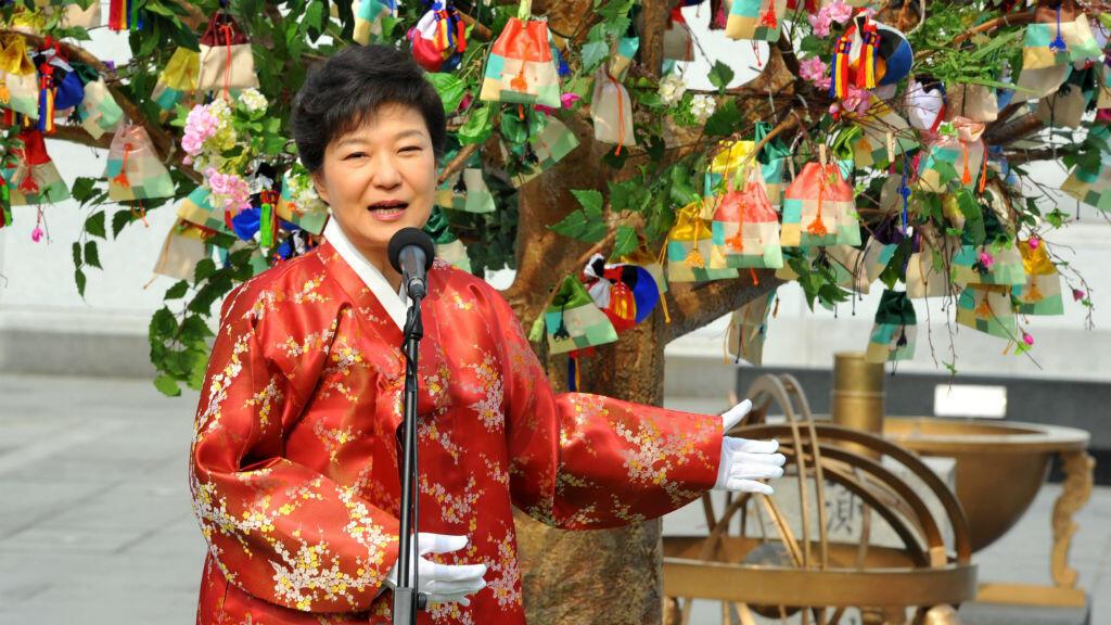 Park Geun-hye à la cérémonie d'inauguration de son mandat, février 2013.