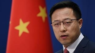 Chinese Foreign Ministry spokesman Zhao Lijian speaks at the daily media briefing in Beijing on April 8, 2020.