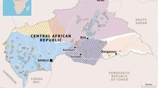 Map showing armed groups and mineral wealth in the Central African Republic