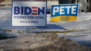 Campaign signs of US Democratic presidential candidates Joe Biden and Pete Buttigieg in Des Moines, Iowa, Feb. 2, 2020.