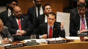 El ministro de Relaciones Exteriores de Venezuela, Jorge Alberto Arreaza, se dirige al Consejo de Seguridad de las Naciones Unidas en una reunión en la que Estados Unidos solicitó una declaración sobre la situación actual de Venezuela, el 26 de enero 2019.