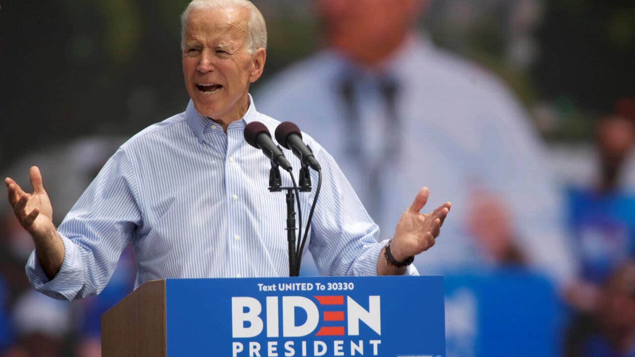 El precandidato demócrata y ex vicepresidente de Estados Unidos, Joe Biden, durante un acto de campaña en Filadelfia, Pensilvania, EE. UU., el 18 de mayo de 2019.