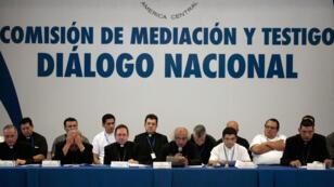La mesa del diálogo nacional en Managua, Nicaragua, el 16 de junio de 2018.