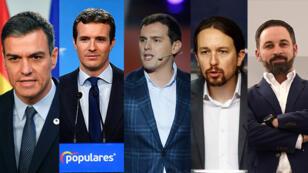 Pedro Sánchez del PESOE, Pablo Casado del Partido Popular, Albert Rivera de Ciudadanos, Pablo Iglesias de Unidas Podemos y Santiago Abascal de Vox.
