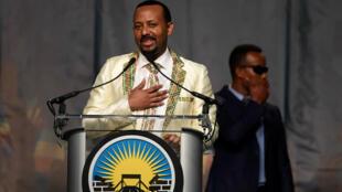 Le Premier ministre éthiopien, Abiy Ahmed, appelant la diaspora de son pays à revenir, investir et soutenir sa terre natale, à Washington, le 28juillet2018.