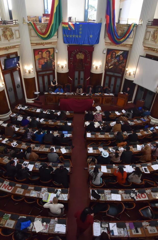 Imagen de archivo y referencial del pasado 21 de agosto de 2018 de una sesión de la Asamblea Legislativa de Bolivia.