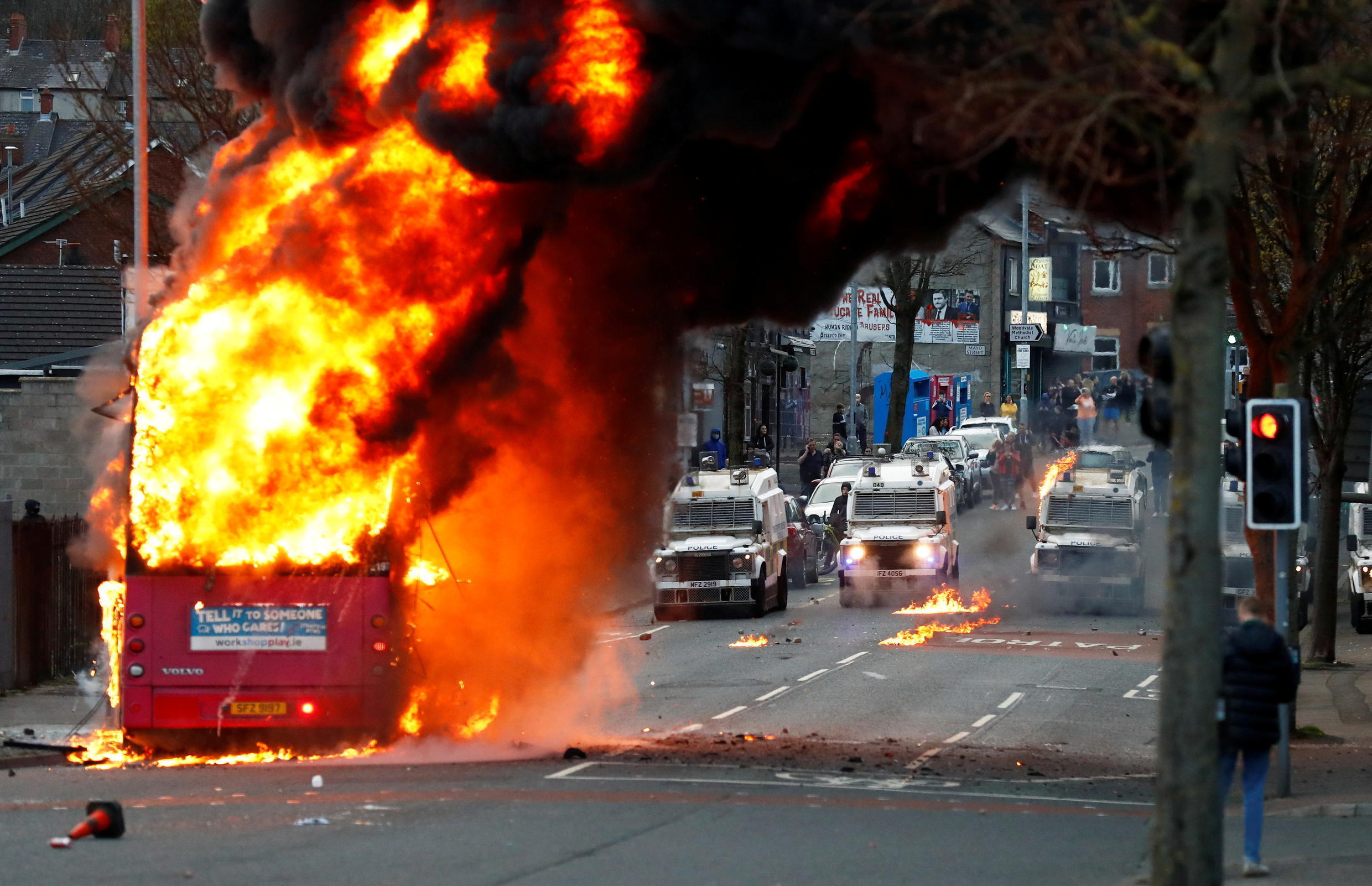 NORTHERN IRELAND PROTESTS BUS ON FIRE