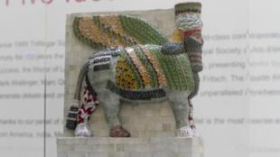 Une reproduction du lamassu qui va être exposé à Trafalgar Square.