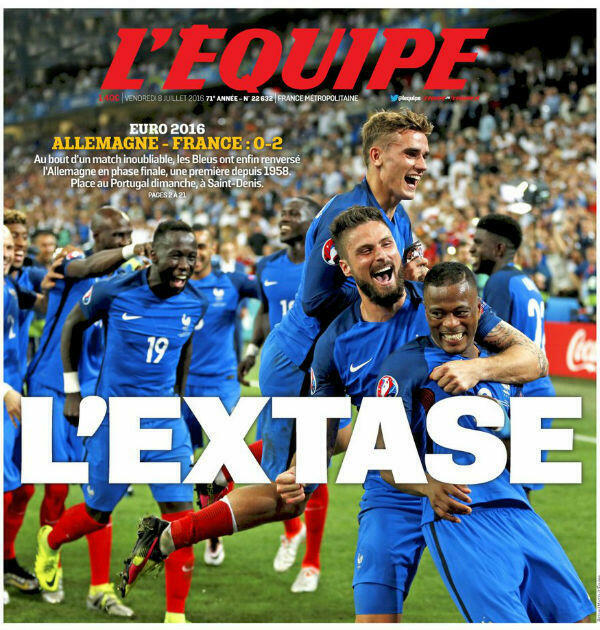 The cover of sports daily L'Equipe hails France's semi-final victory over hot favourites Germany. Few expected the hosts to then lose the final match against Portugal.