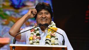 El presidente boliviano Evo Morales habla durante la inauguración de la sede de la organización UNASUR (Unión de Naciones Suramericanas) en San Benito, Cochabamba, Bolivia, 12 de septiembre de 2018.