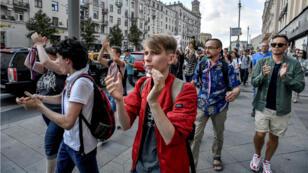 L'opposition défile à Moscou, le samedi 31 août.