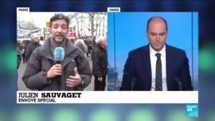 """2020-01-29 14:35 Réforme des retraites : Le cortège parisien """"revigoré"""" après les déclarations du conseil d'Etat"""