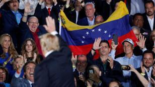 El presidente Donald Trump en una intervención sobre Venezuela desde la Universidad de la Florida. Miami, 18 de febrero de 2019.