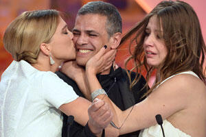 Seydoux, Kechiche and Exarchopoulos after winning the Palme d'Or at Cannes.