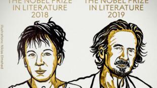 Les écrivains Olga Tokarczuk et Peter Handke, lauréats des prix Nobel de littérature 2018 et 2019.
