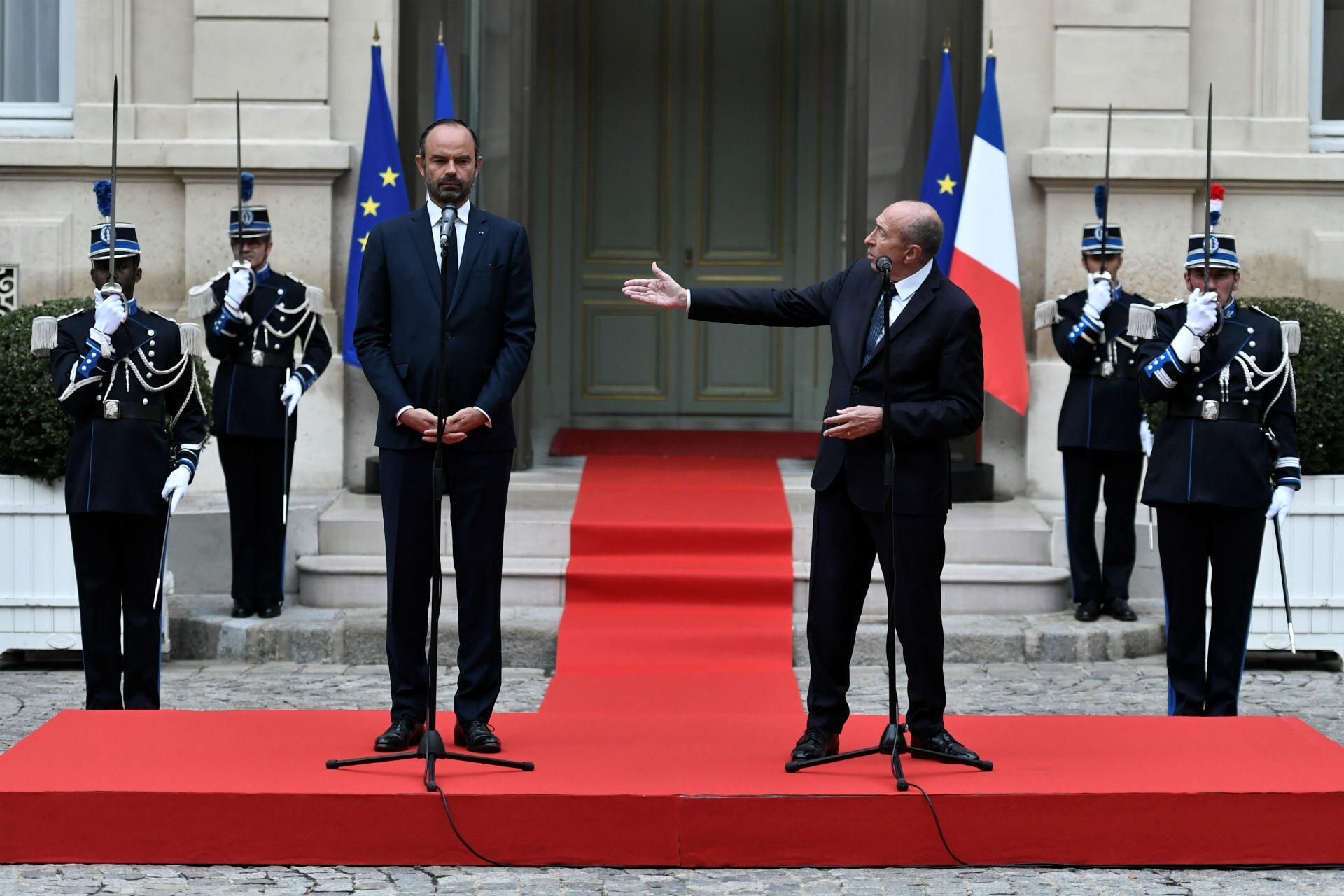 """Another high-profile resignation came on October 1, when interior minister Gérard Collomb stepped down. The president refused his resignation several times before finally accepting it. The resignation represented the final fissure in the two men's relationship: Collomb had criticised his former protégé in September for his """"want of humility""""."""
