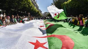 متظاهرون يحملون علم الجزائر في مسيرة بالعاصمة في 31 مايو/أيار 2019