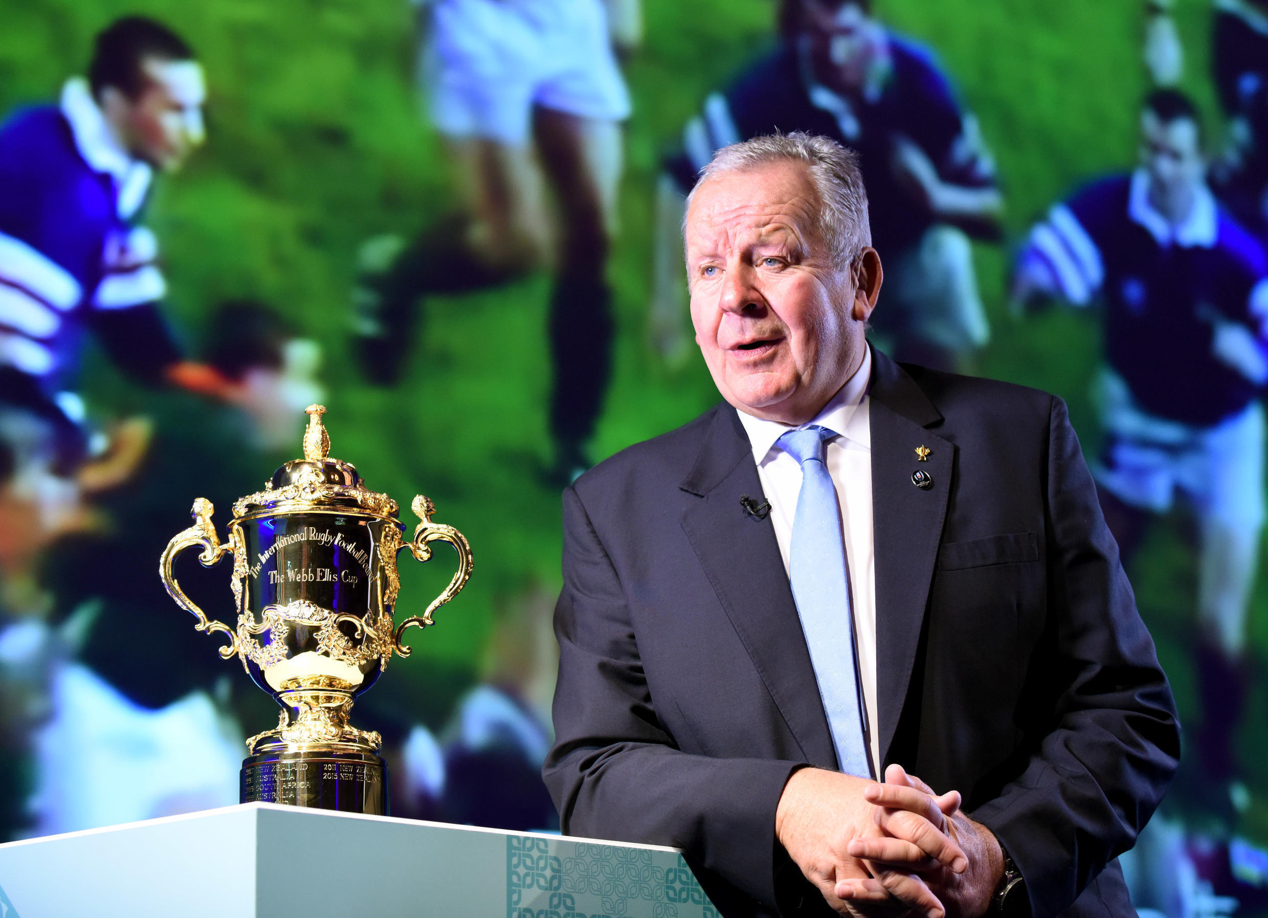 Bill Beaumont pictured with the Web Ellis trophy at a news conference in 2017.