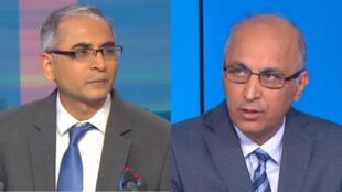 L'ambassadeur de l'Inde en France, Vinay Kwatra (à gauche) et l'ambassadeur du Pakistan en France, Moin ul Haque (à droite), invités tour à tour sur France 24, mercredi 27 février 2019.