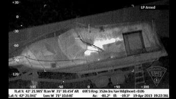 Thermal image released by the Massachusetts State Police Air Wing, shows the boat and Boston Marathon bombing suspect Dzhokhar Tsarnaev on April 19, 2013.