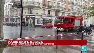 2020-09-25 13:13 One suspect arrested in Paris stabbing attack