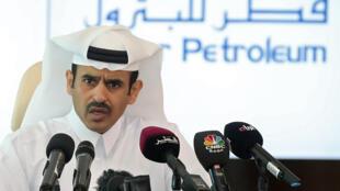 الرئيس التنفيذي لشركة قطر للبترول سعد شريدة الكعبي خلال مؤتمر صحفي 04-07-2017