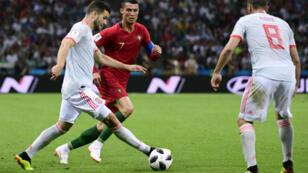 المنتخب البرتغالي يتعادل أمام نظيره الإسباني 3-3 على ملعب سوتشي 15 حزيران/يونيو 2018.