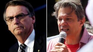 Los candidatos presidenciales Jair Bolsonaro y Fernando Haddad.