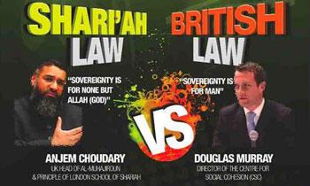 """La loi de la charia contre la loi britannique"", l'un des tracts (2009) du groupe islamiste Al-Mouhajiroun distribué au Royaume-Uni."