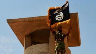 Image publiée en juin 2014 par le site jihadiste Welayat Salahuddin montrant un combattant de l'EI agitant le drapeau de l'organisation après la prise d'un poste de l'armée irakienne dans la province de Salahuddin.