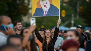 Borisov as a clown at a Sofia protest.
