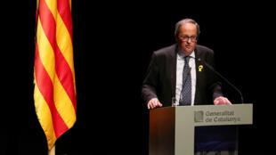 Quim Torra, presidente regional de Cataluña durante un discurso en Barcelona. 4 de septiembre de 2018.