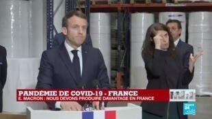 """2020-03-31 13:21 Coronavirus - Macron à Kolmi-Hopen : """"Notre priorité aujourd'hui est de produire davantage en France et en Europe"""""""