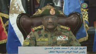 لقطة من بث تلفزيوني لكلمة الجنرال محمد عثمان الحسين، السودان، في 24 يوليو/تموز 2019