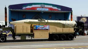 Le nouveau missile Khoramshahr lors d'une parade militaire, le 22 septembre 2017, à Téhéran.
