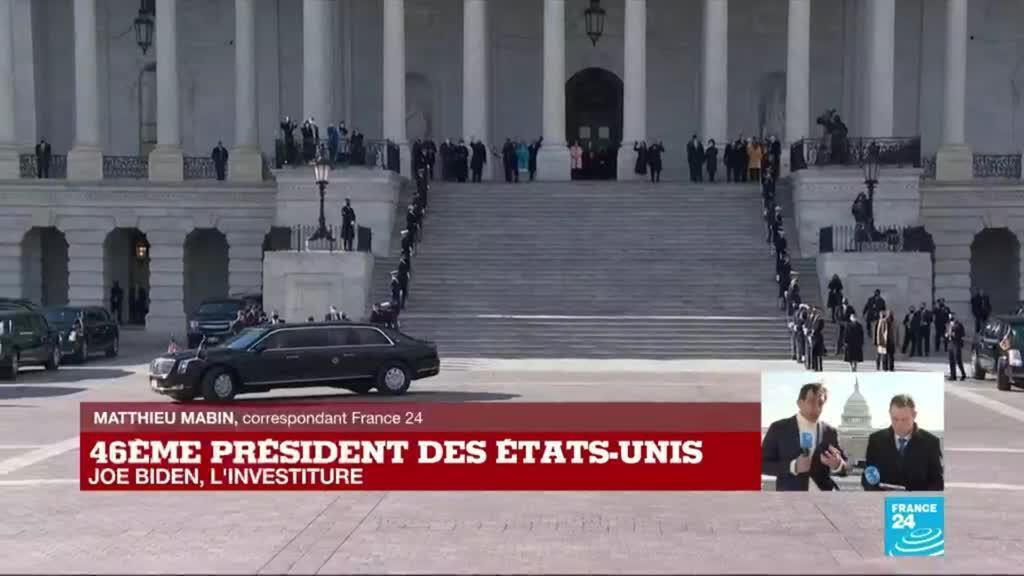 2021-01-20 20:07 Investiture de Joe Biden : le président et sa vice-présidente en route vers le cimetière national d'Arlington