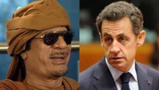 Former Libya leader General Muammar Gaddafi (left) and former French President Nicolas Sarkozy (right).