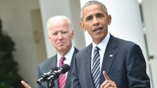 Barack Obama et Joe Biden, mercredi 9 novembre 2016, devant la Maison Blanche.