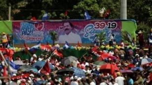 رئيس نيكاراغوا دانيال أورتيغا خلال الاحتفال بالذكرى الـ39 لانتصار الثورة الساندينية في ماناغوا في 19 تموز/يوليو 2018