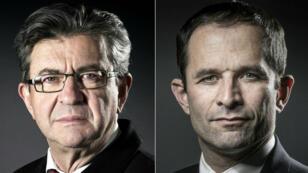 Le candidat de La France insoumise, Jean-Luc Mélenchon, et Benoît Hamon, le candidat investi par le Parti socialiste.