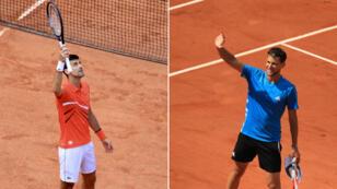 Novak Djokovic et Dominic Thiem, qualifiés pour les demi-finales de Roland-Garros 2019.