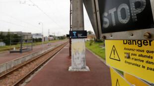 Une voie ferrée à Bordeaux, le 30 octobre 2019, lors d'une journée de grève des agents de la SNCF.