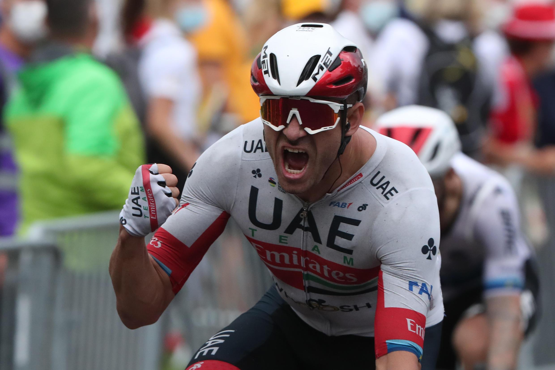 El noruego Alexander Kristoff disfruta de su victoria en Niza el 29 de agosto de 2020.