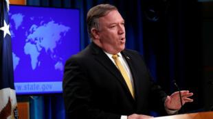 El secretario de Estado de Estados Unidos, Mike Pompeo, anunció que su país pondrá fin al Tratado de Amistad firmado con Iran en 1955. Washington, EE. UU., 3 de octubre del 2018.