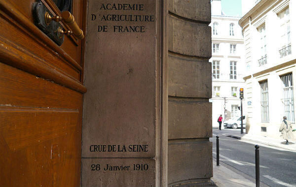 Inscription in the entrance of France's Agricultural Academy shows the water level during the flood of 1910.