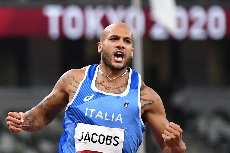 La joie de l'Italien Lamont Marcell Jacobs, champion olympique du 100 m, le 1er août 2021 aux Jeux Olympiques de Tokyo 2020