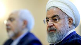 Le président iranien Hassan Rohani et le ministre des Affaires étrangères Mohammad Javad Zarif, le 22 juillet 2018, à Téhéran.