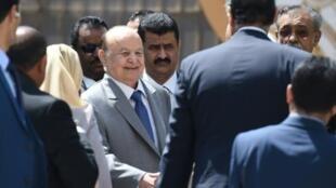 الرئيس اليمني المعترف بحكومته دوليا عبد ربه منصور هادي خلال اجتماعات في مقر الجامعة العربية في القاهرة 14 آب/أغسطس 2018