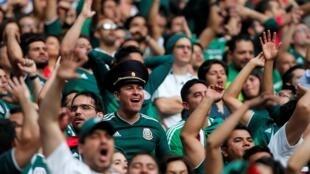 Fans de México durante el partido Alemania vs México, en el Estadio Luzhniki, Moscú, Rusia, el 17 de junio de 2018.