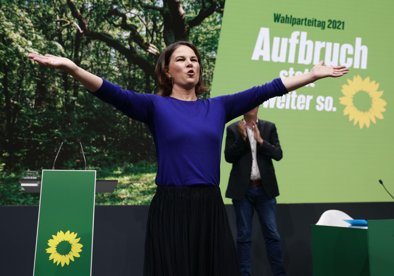 Annalena Baerbock, co-dirigeante et candidate  des Verts pour succéder à Angela Merkel, lors d'un congrès des Verts à Berlin le 19 septembre 2021